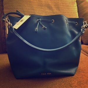 Scarlet Drawstring Shoulder Leather Handbag Blue